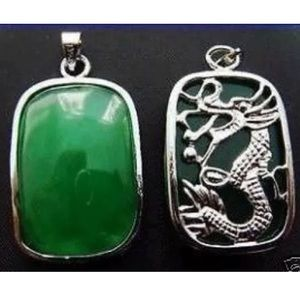 Jewelry - Gorgeous Square Green Jade Pendant, two sided